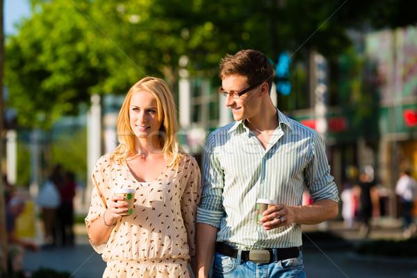 カップル コーヒー 昼休み 徒歩 太陽 ストックフォト © Kzenon