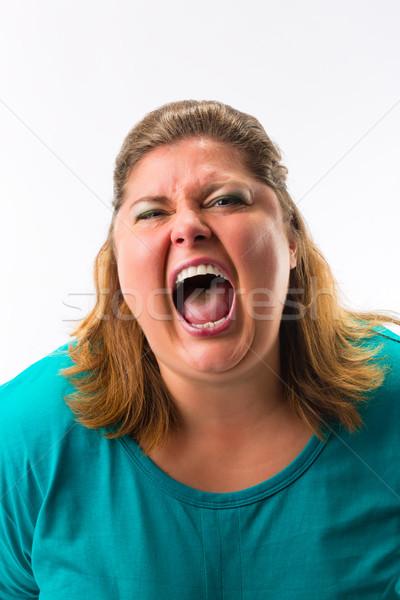 Woman screaming loud Stock photo © Kzenon