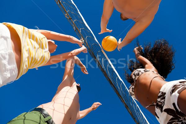 Strand volleybal spelers net zomer sport Stockfoto © Kzenon