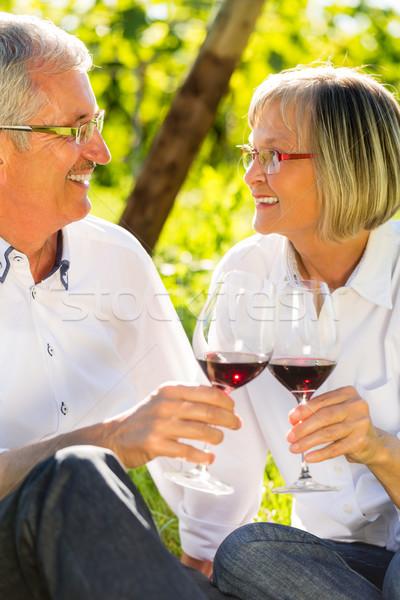 Stock fotó: Idősek · ül · szőlőskert · iszik · vörösbor · nő