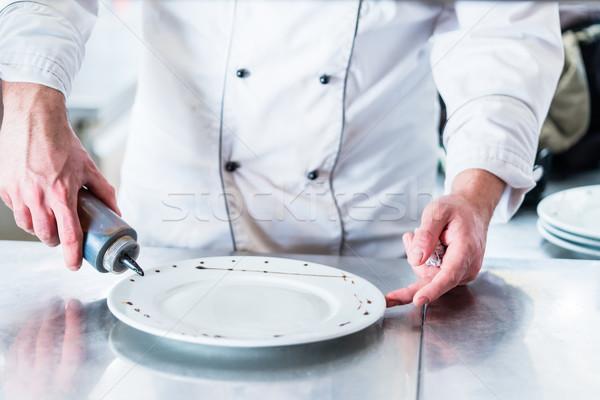 Сток-фото: повар · блюдо · продовольствие · человека · рыбы · отель
