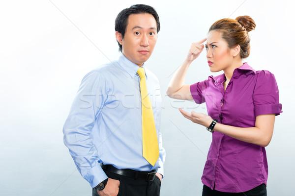 Válság ázsiai üzlet iroda kollégák mérges Stock fotó © Kzenon