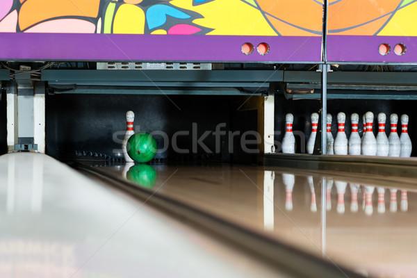 Bowling ball pin sportowe piłka bowling gry Zdjęcia stock © Kzenon