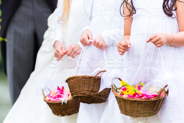 Wedding bridesmaids children with flower basket Stock photo © Kzenon