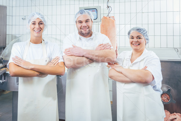 Team of butchers showing thumbs up Stock photo © Kzenon