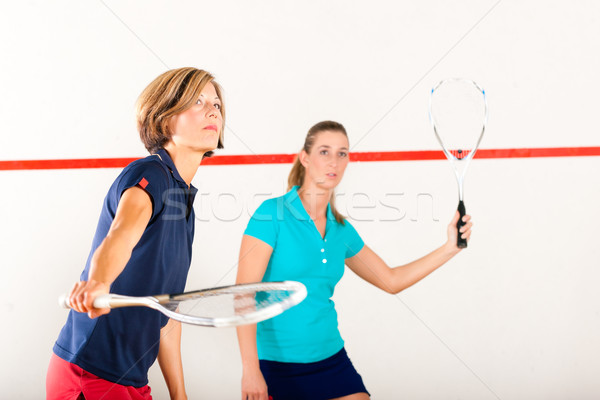 Squash raquette sport gymnase femmes concurrence Photo stock © Kzenon