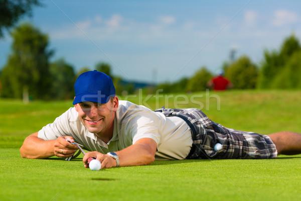 Fiatal golfozó férfi sport nyár jókedv Stock fotó © Kzenon