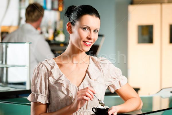 Woman in a coffeeshop Stock photo © Kzenon