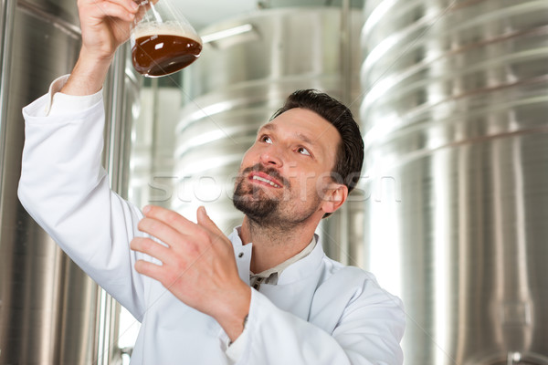 Stock photo: Beer brewer in his brewery