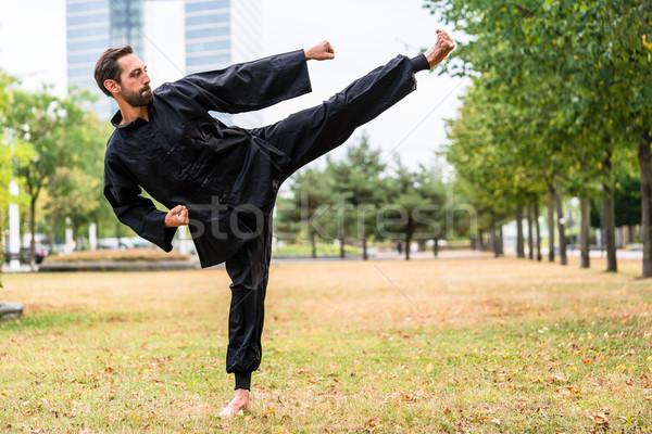Martial artist practicing Qigong in office break Stock photo © Kzenon