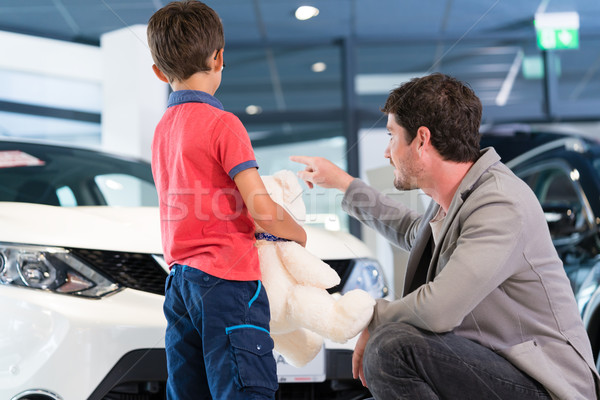 Father with son in car dealer showroom buying auto Stock photo © Kzenon