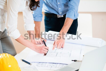Discussion of construction plans in architects office Stock photo © Kzenon