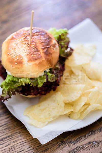 Stok fotoğraf: Burger · yeşil · salata · taze