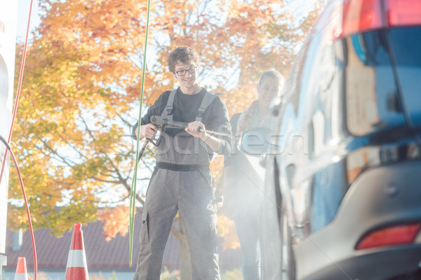 サービス 男 支援 女性 洗浄 自動 ストックフォト © Kzenon