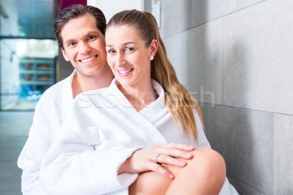 Couple in relaxing in wellness spa Stock photo © Kzenon