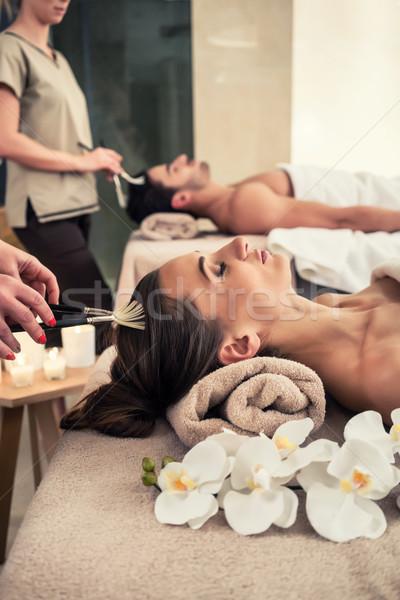 Photo stock: Femme · couché · massage · lit · traitement