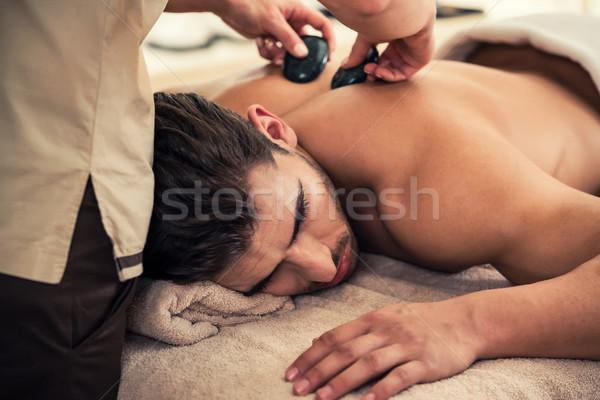 Férfi megnyugtató stimuláló effektek hagyományos forró Stock fotó © Kzenon