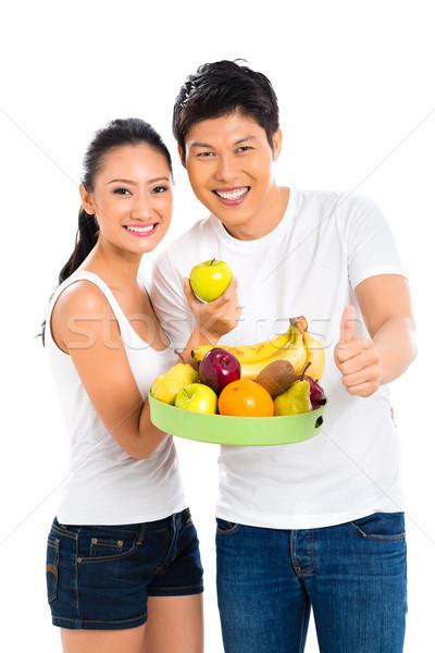 Çin Asya çift sağlıklı beslenme meyve gıda Stok fotoğraf © Kzenon