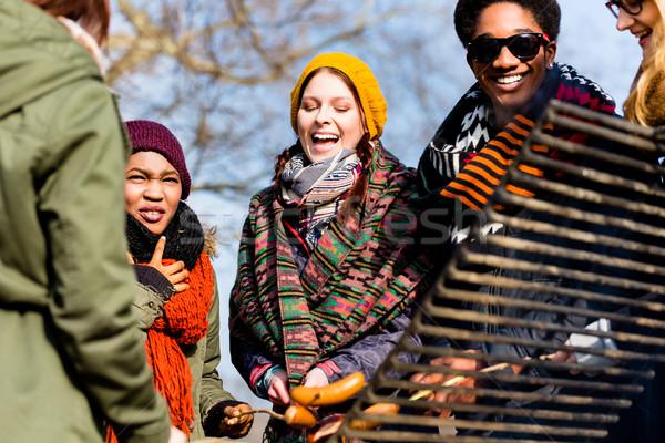 Több nemzetiségű csoport öt fiatalok szórakozás barbecue Stock fotó © Kzenon