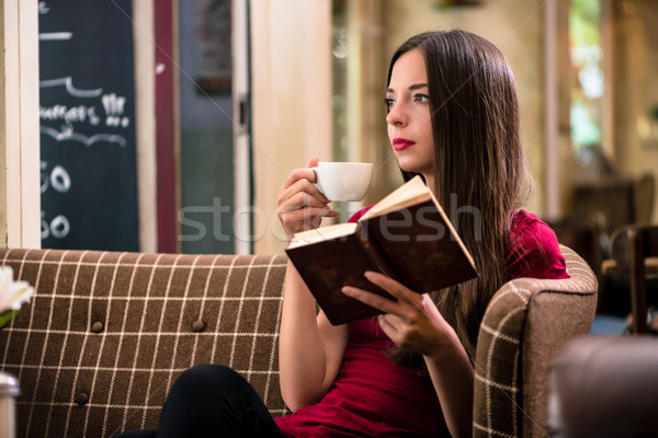 Jonge vrouw lezing boek binnenshuis vergadering Stockfoto © Kzenon