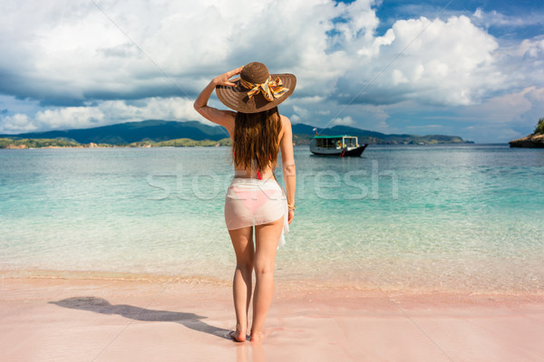 Attractive young woman wearing straw hat and mesh swim skirt at tropical beach Stock photo © Kzenon