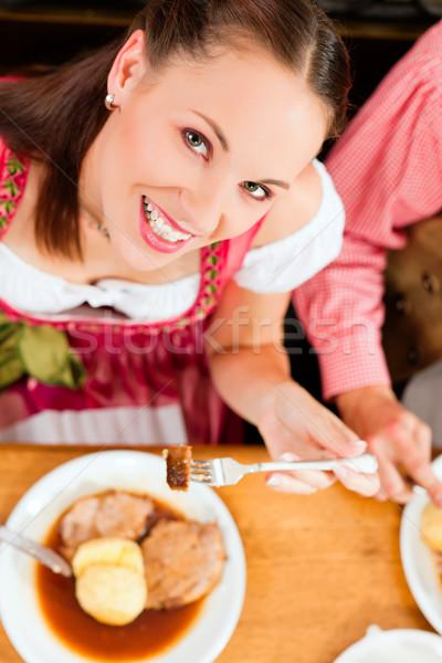 カップル 食べ 豚肉 レストラン 宿 パブ ストックフォト © Kzenon