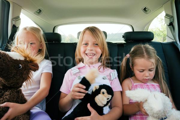 Stockfoto: Familie · auto · drie · kinderen · kinderen