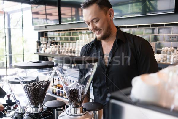 Mutlu genç espresso çalışma barista taze Stok fotoğraf © Kzenon