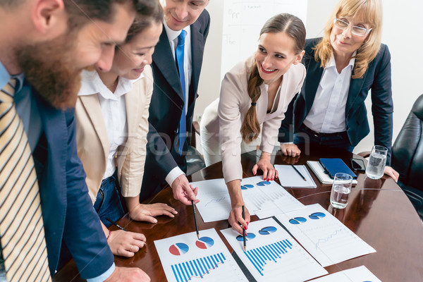 Multi-ethnic team of five dedicated specialists smiling while an Stock photo © Kzenon