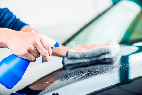 手 洗浄 車 スプレー クリーナー タオル ストックフォト © Kzenon