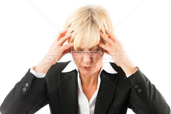 üzletasszony fejfájás kiégés gyógyszer betegség érett Stock fotó © Kzenon