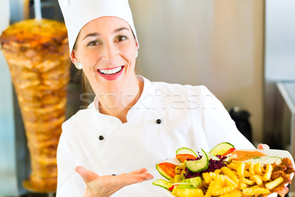 Kebab - hot Doner plate with fresh ingredients Stock photo © Kzenon