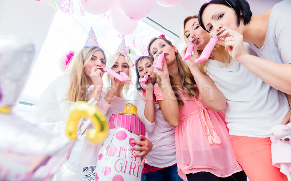 Group of women on baby shower party having fun Stock photo © Kzenon