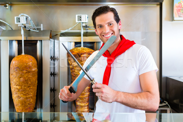 Kebab - hot Doner with fresh ingredients Stock photo © Kzenon