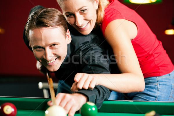 çift oynama bilardo adam kadın bilardo Stok fotoğraf © Kzenon