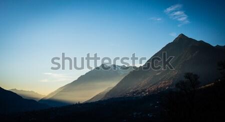 Sunset in alp mountains near Schenna, south tyrol Stock photo © Kzenon