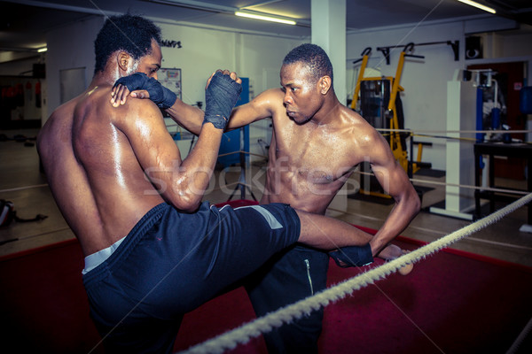 Two African American fighters practicing MMA takedown techniques Stock photo © Kzenon