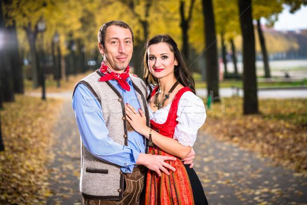 Couple wearing Dirndl and Lederhose  Stock photo © Kzenon