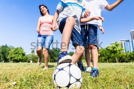 Foto stock: Familia · jugando · fútbol · parque · verano · familia · feliz