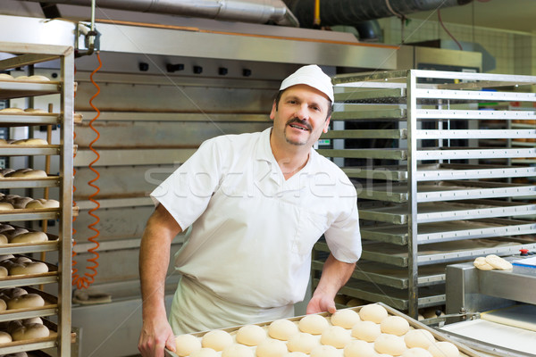 Male baker baking bread rolls Stock photo © Kzenon