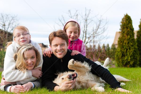 Familie vergadering honden samen weide vader Stockfoto © Kzenon