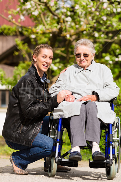 Stock photo: woman visiting grandmother in nursing home