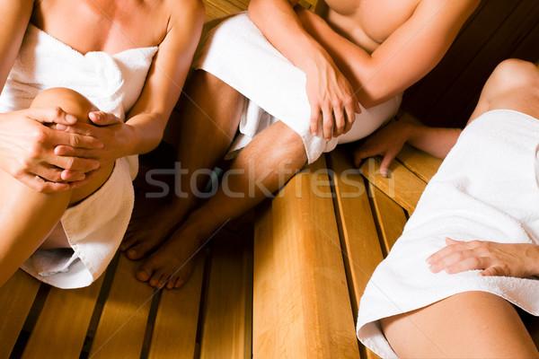 Barátok szauna három ember egy férfi kettő Stock fotó © Kzenon