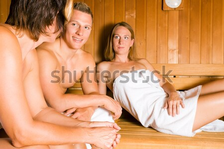 Amigos sauna dois feminino vitamina Foto stock © Kzenon