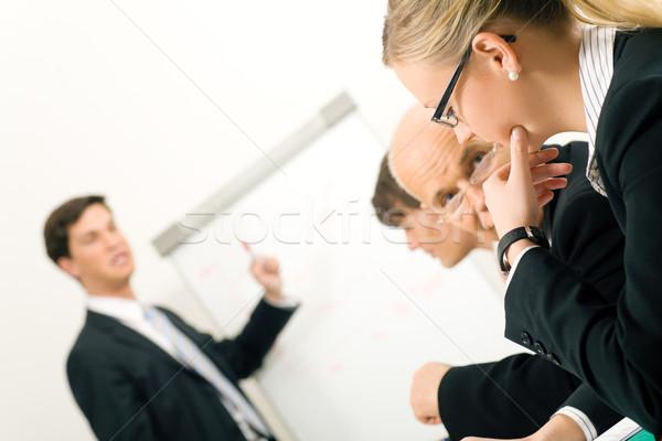 Business presentatie kantoor flipchart twee deelnemers Stockfoto © Kzenon