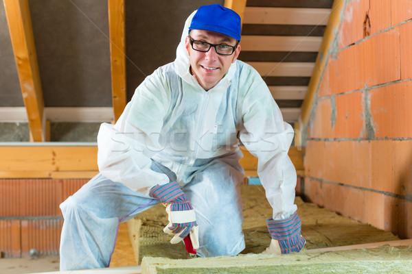 Pracownika cięcie materiału rękawice nóż Zdjęcia stock © Kzenon