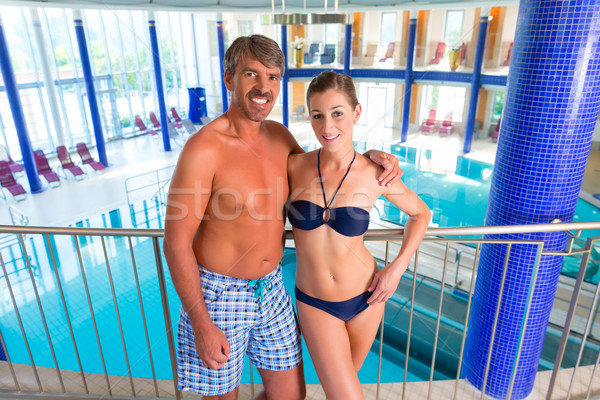 Man and woman standing in wellness thermal spa Stock photo © Kzenon
