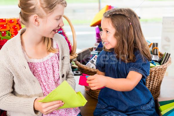 Kids buying supplies  in handicraft store Stock photo © Kzenon