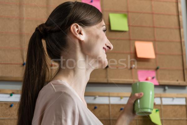 Nő alkalmazott kreatív üzlet ügynökség kávé Stock fotó © Kzenon