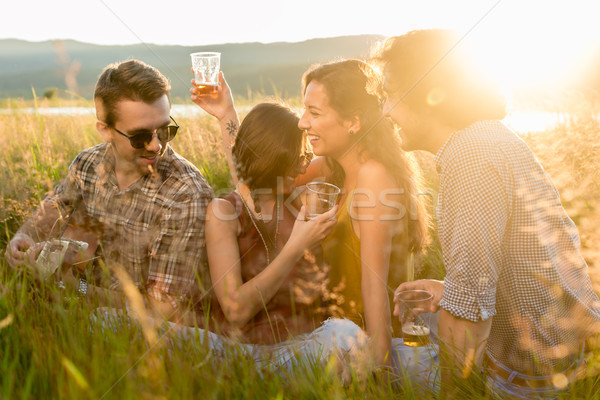 Young people enjoying evening mood of summer day sitting in gras Stock photo © Kzenon